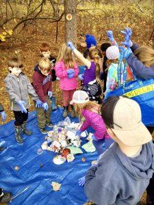 Students in the Trash Tracker program